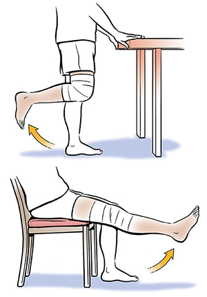 1. Person from waist down showing standing knee bends. 2. Lower body of seated person showing long-arc knee extension.